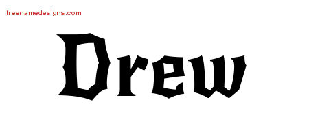 Drew Gothic Name Tattoo Designs