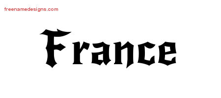 Gothic Name Tattoo Designs France Free Graphic - Free Name ...
