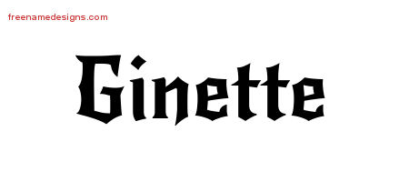 Ginette Gothic Name Tattoo Designs