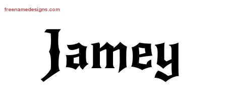 Jamey Gothic Name Tattoo Designs