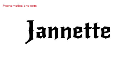 Jannette Gothic Name Tattoo Designs