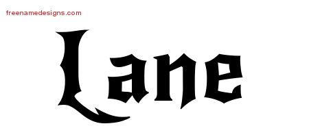 Lane Gothic Name Tattoo Designs