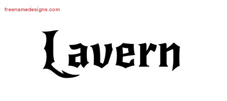 Lavern Gothic Name Tattoo Designs