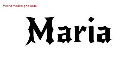 Maria Gothic Name Tattoo Designs
