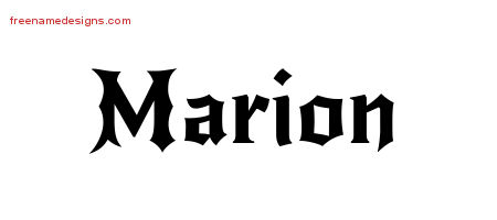 Marion Gothic Name Tattoo Designs