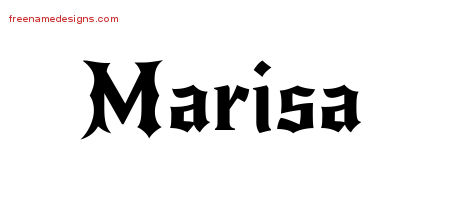 Marisa Gothic Name Tattoo Designs
