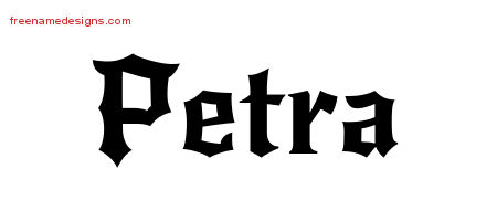 Gothic Name Tattoo Designs Petra Free Graphic - Free Name Designs