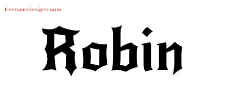 Robin Gothic Name Tattoo Designs
