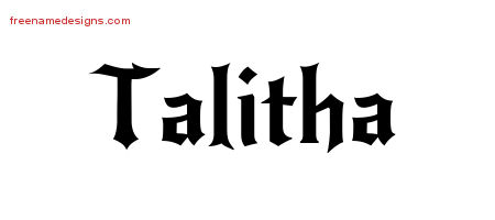 Gothic Name Tattoo Designs Talitha Free Graphic - Free ...