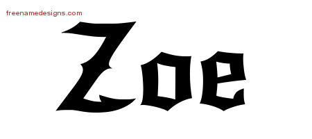 Gothic Name Tattoo Designs Zoe Free Graphic - Free Name Designs