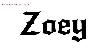 gothic name tattoo designs zoey free graphic free name designs. Black Bedroom Furniture Sets. Home Design Ideas