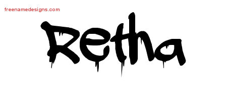 Retha Graffiti Name Tattoo Designs