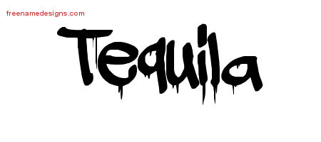 Tequila Graffiti Name Tattoo Designs