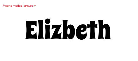 Elizbeth Groovy Name Tattoo Designs