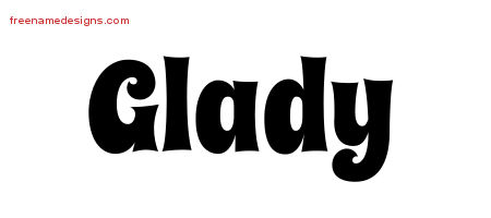 Glady Groovy Name Tattoo Designs