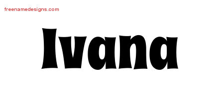 Ivana Groovy Name Tattoo Designs