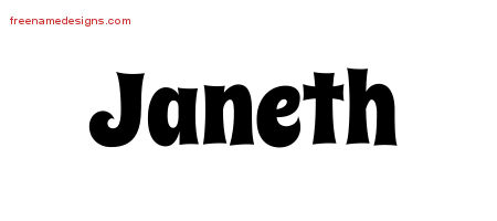 Janeth Groovy Name Tattoo Designs