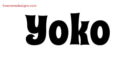Yoko Groovy Name Tattoo Designs