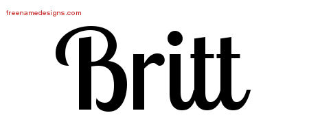 Britt Handwritten Name Tattoo Designs