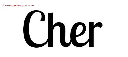 Cher Handwritten Name Tattoo Designs