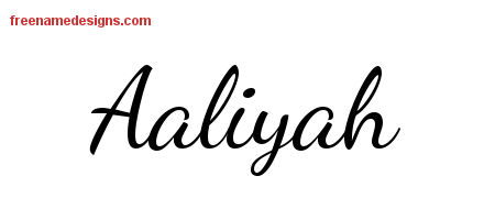 lively script name tattoo designs aaliyah free printout free name designs. Black Bedroom Furniture Sets. Home Design Ideas