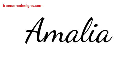 Amalia Lively Script Name Tattoo Designs