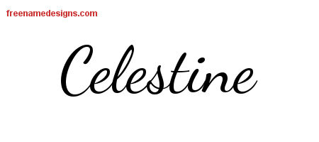 Celestine Lively Script Name Tattoo Designs