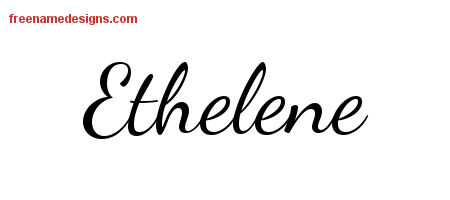 Ethelene Lively Script Name Tattoo Designs