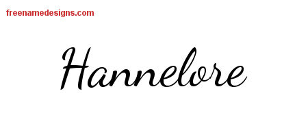 Hannelore Lively Script Name Tattoo Designs