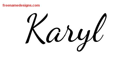 Karyl Lively Script Name Tattoo Designs
