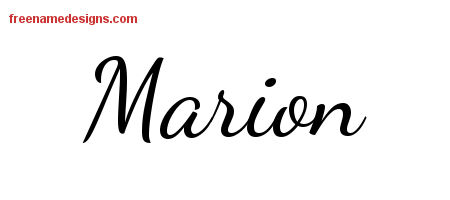 Marion Lively Script Name Tattoo Designs