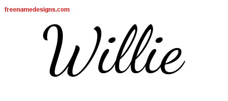 Willie Lively Script Name Tattoo Designs