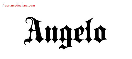 Angelo Old English Name Tattoo Designs