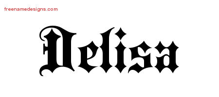 Delisa Old English Name Tattoo Designs