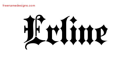 Erline Old English Name Tattoo Designs
