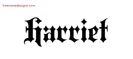 Harriet Old English Name Tattoo Designs