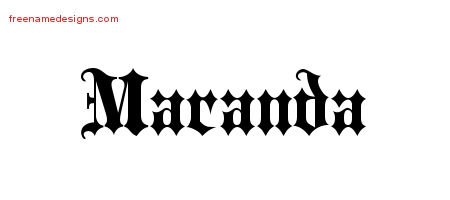 Maranda Old English Name Tattoo Designs