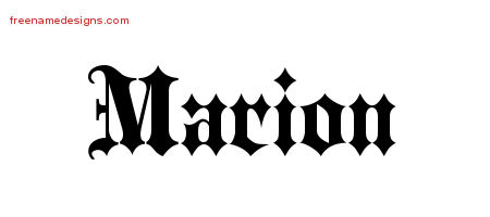 Marion Old English Name Tattoo Designs