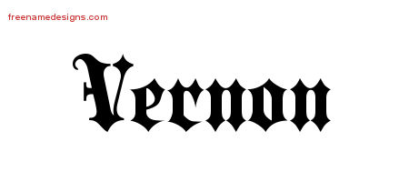 Vernon Old English Name Tattoo Designs