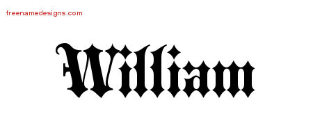 William Old English Name Tattoo Designs