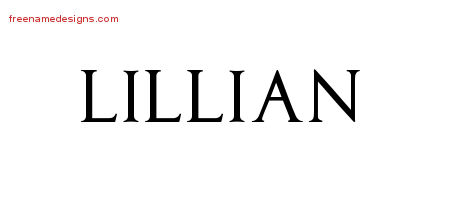Lillian Regal Victorian Name Tattoo Designs