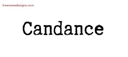 Candance Typewriter Name Tattoo Designs