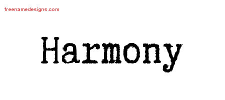 Harmony Typewriter Name Tattoo Designs