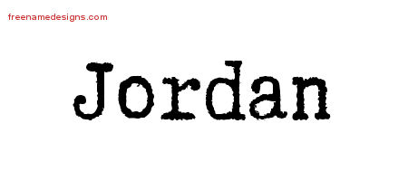 Jordan Typewriter Name Tattoo Designs