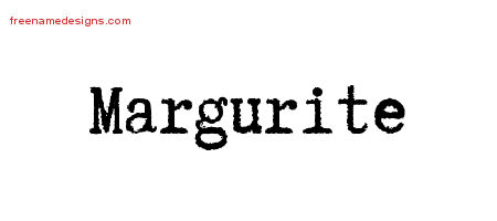 Margurite Typewriter Name Tattoo Designs