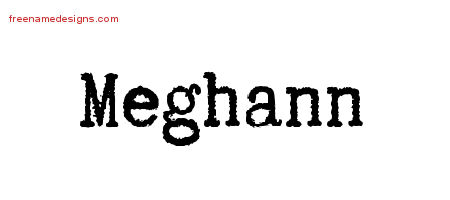 Meghann Typewriter Name Tattoo Designs