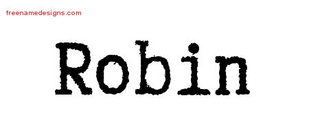Robin Typewriter Name Tattoo Designs