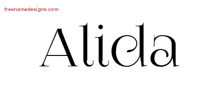 Alida Vintage Name Tattoo Designs