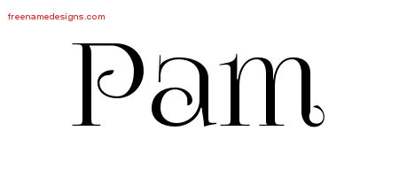 Pam Vintage Name Tattoo Designs
