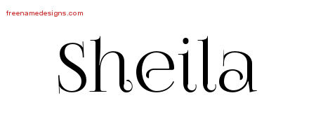 Sheila Vintage Name Tattoo Designs